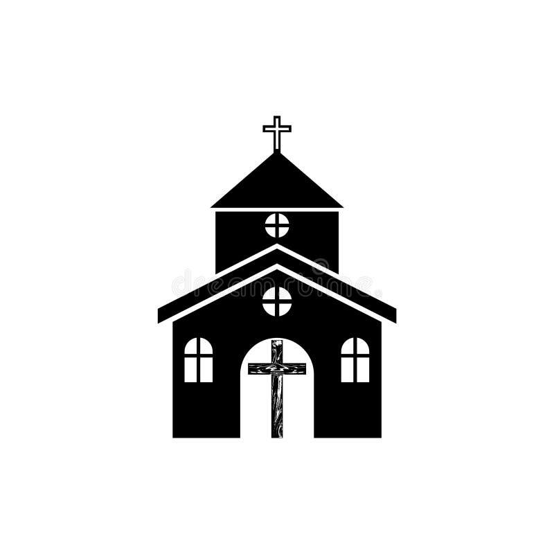 Kirchenlogo, Religion, Glaube, hölzerne Querikone oder Symbol stock abbildung