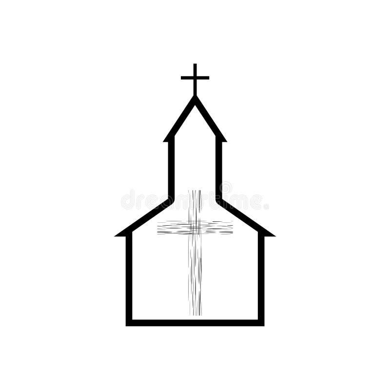 Kirchenlogo, Religion, Glaube, hölzerne Querikone oder Symbol lizenzfreie abbildung