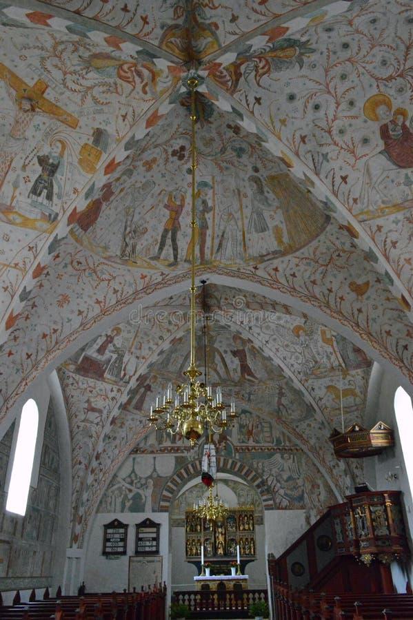 Kirchenschiff-Decke - Frescoed Kirchen von Kirche Møn - Keldby stockfoto