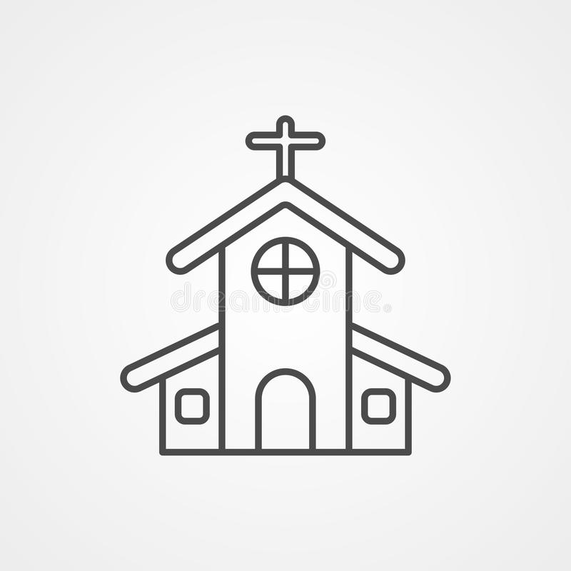 Kirchenvektorikonen-Zeichensymbol lizenzfreie abbildung