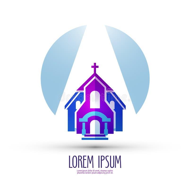 Kirchenvektorlogo-Designschablone Religion oder lizenzfreie abbildung