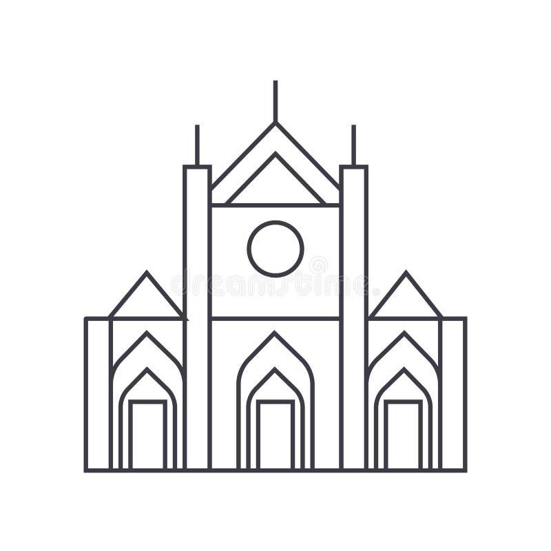 Kirchenzeichen-Vektorlinie Ikone, Zeichen, Illustration auf Hintergrund, editable Anschläge stock abbildung
