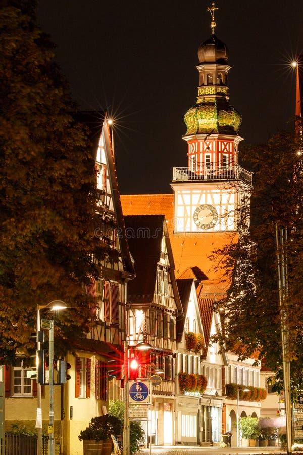 Kirchheim Teck at night. Downtown Kirchheim with town hall and traffic light royalty free stock image