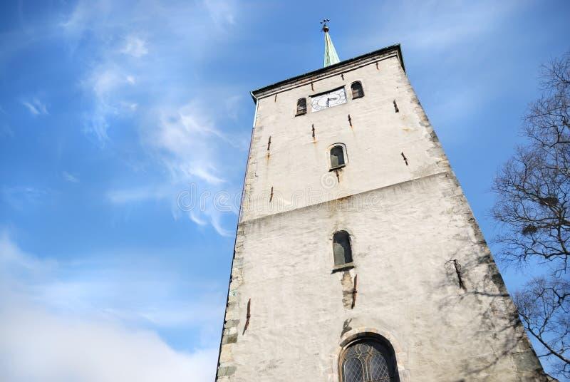 Kirchturm in Bergen, Norwegen stockfoto
