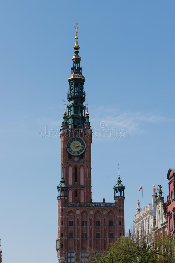 Kirchturm in Danzig Polen stockfotografie
