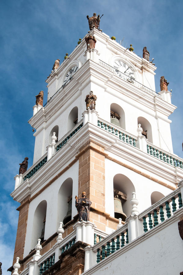 Kirchturm im Sucre, Bolivien stockfotografie