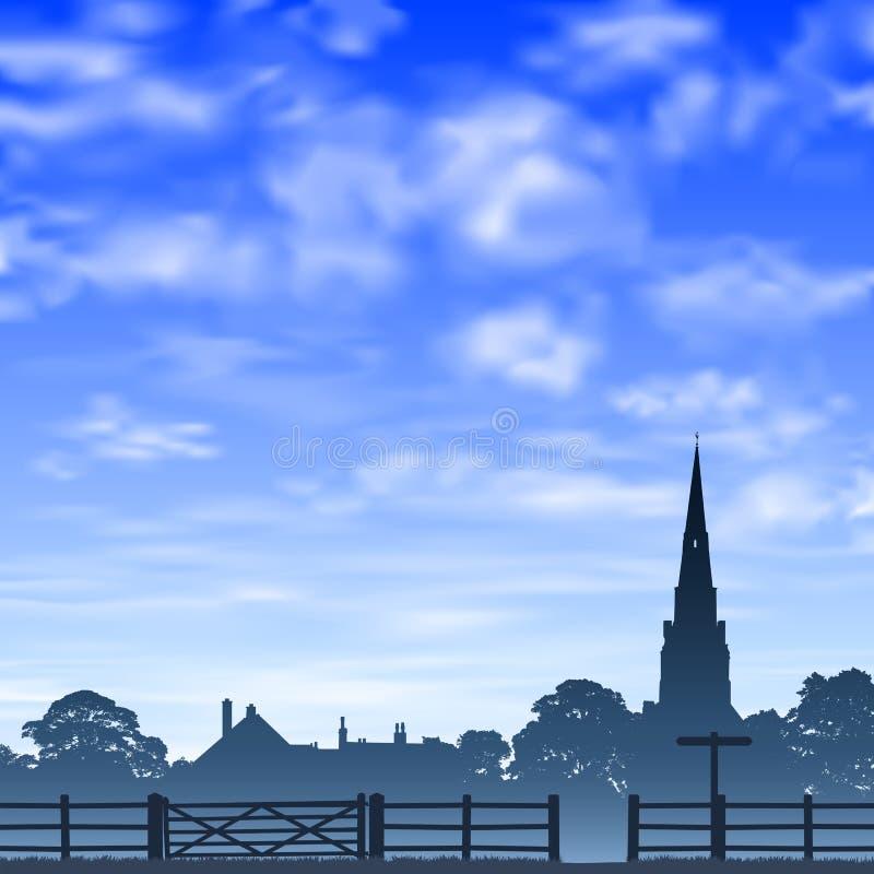 Kirchturm und Zaun lizenzfreie abbildung