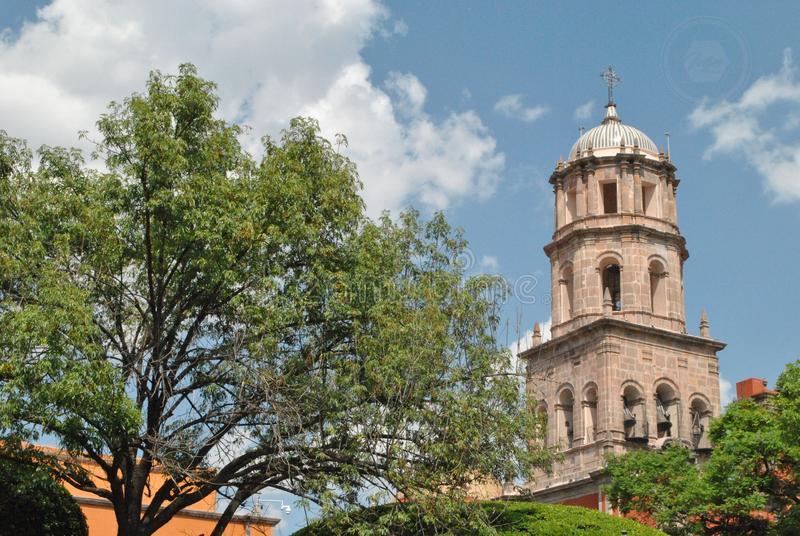 Kirchturm von Santiago de Queretaro, Queretaro, Mexiko stockfotografie