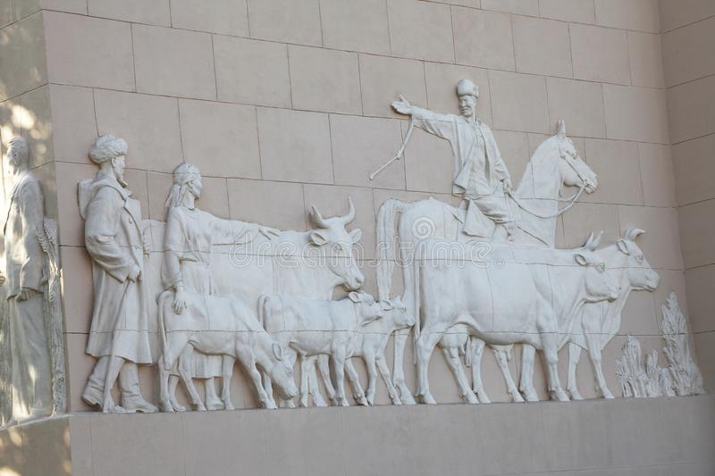 Kirgizia pavillion wall carving decor in VDNH VVC park, Moscow. Russia stock photo