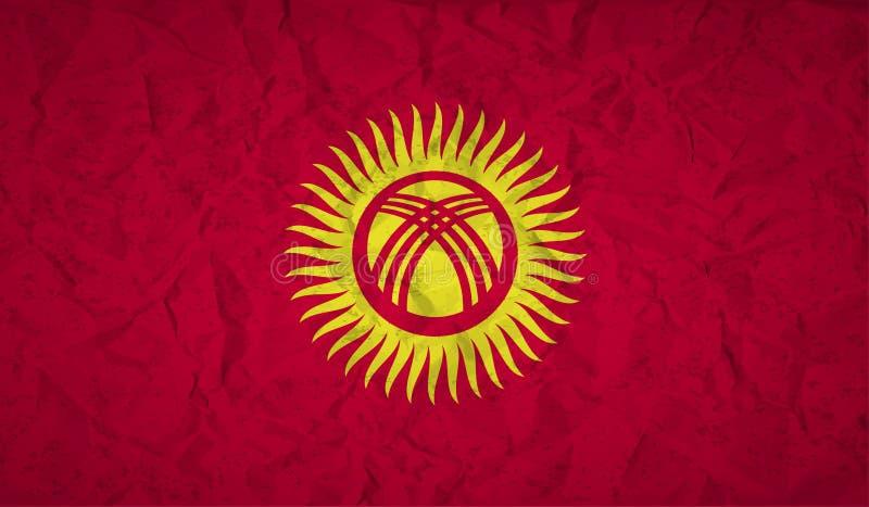 Kirgizistanflagga med effekten av skrynkligt papper och grunge vektor illustrationer