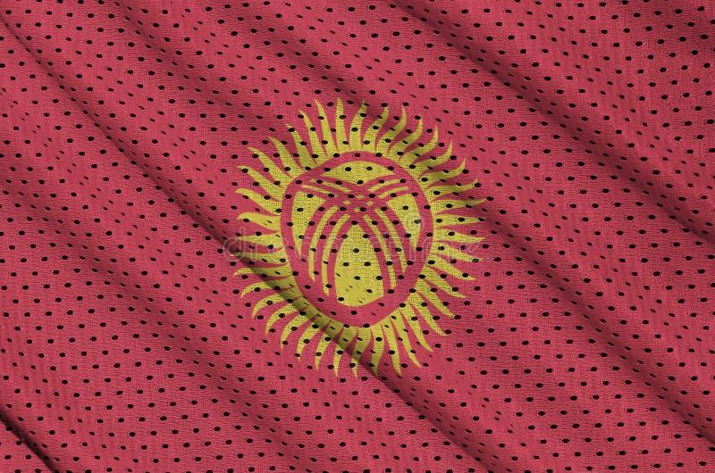 Kirgizistanflagga som skrivs ut på ett fab ingrepp för polyesternylonsportswear arkivfoton