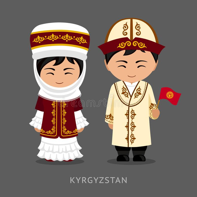 Kirguiz no vestido nacional com uma bandeira ilustração stock