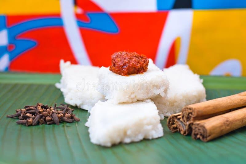 Kiribath,牛奶米是传统斯里兰卡的食物 库存照片