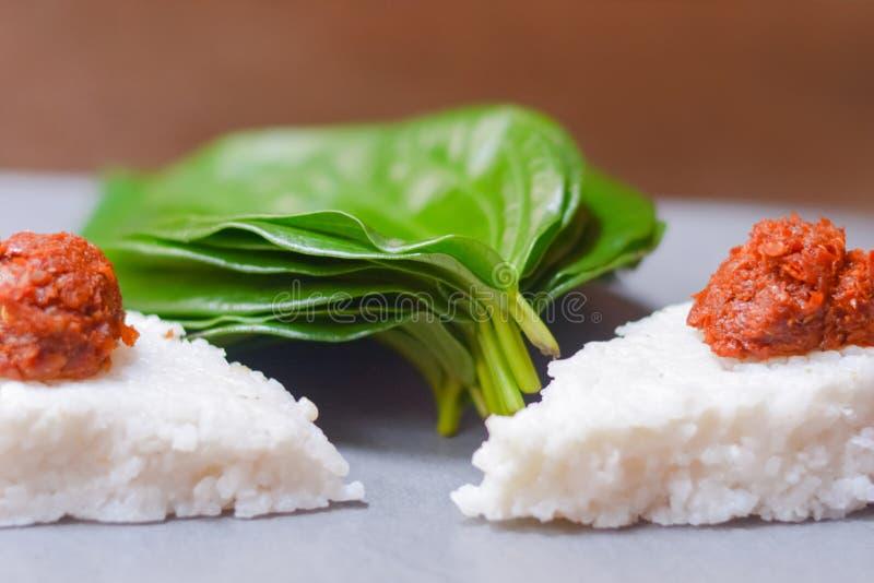 Kiribath dojni ryż jest tradycyjnym lankijczyka jedzeniem obrazy royalty free
