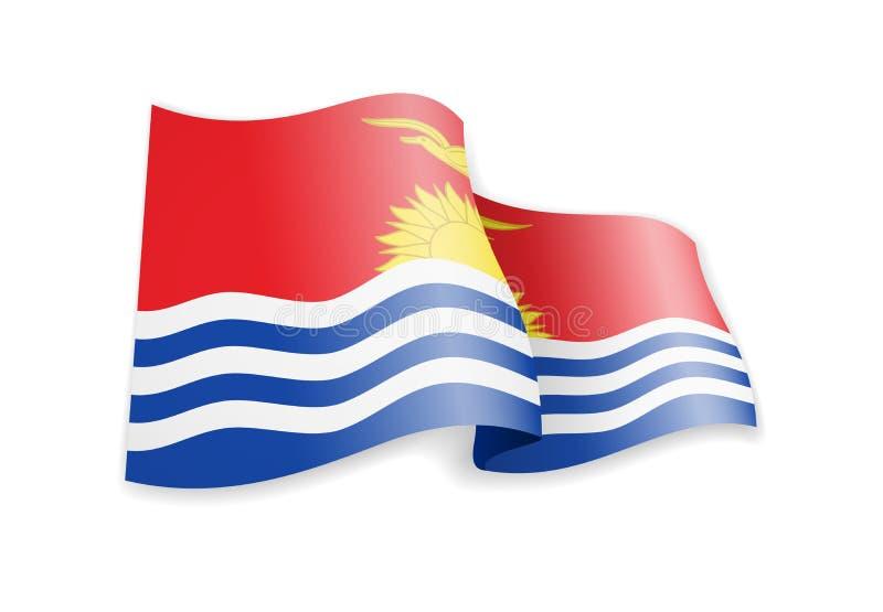 Kiribati vlag in de wind Vlag op witte vectorillustratie stock foto