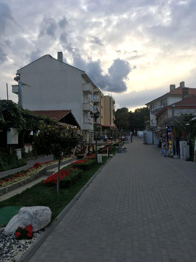 Kiril i Metodntoj street, Obzor, Bulgaria stock photos
