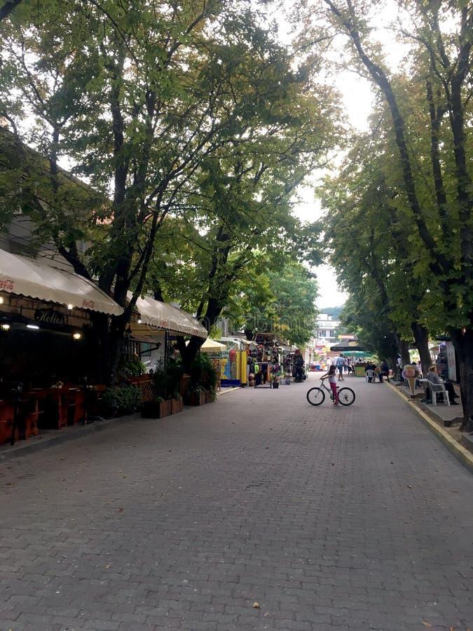 Kiril i Metodntoj street, Obzor, Bulgaria stock photography