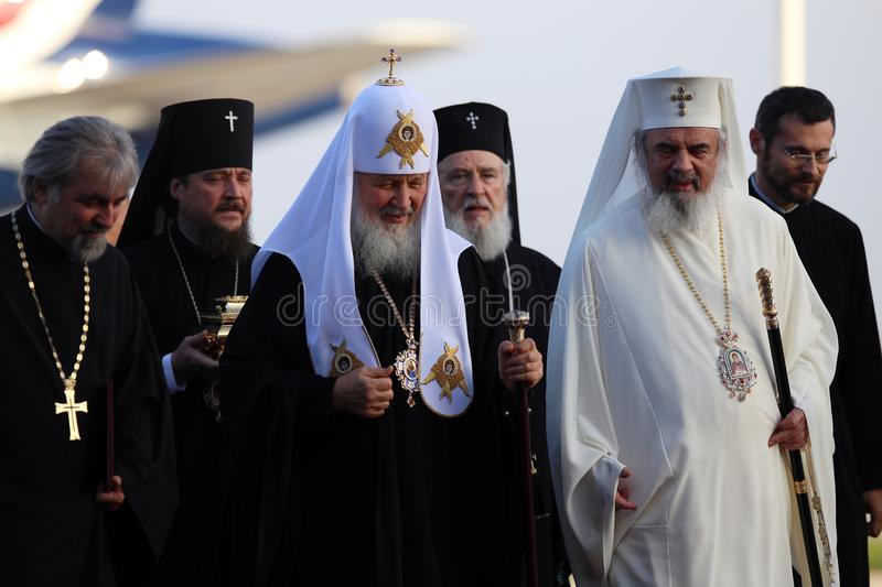 KIRIL, PATRIARCH OF MOSCOW AND ALL RUSSIA VISITS ROMANIA. Patriarch Kiril of Moscow and all Russia, center, arrives at Otopeni Airport, Romania, Thursday, 26 stock images