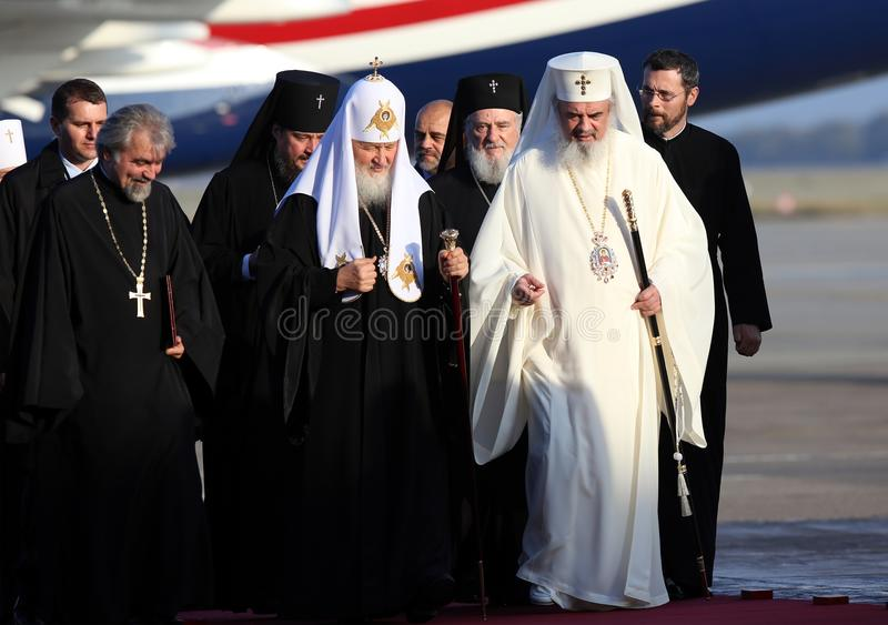 KIRIL, PATRIARCH OF MOSCOW AND ALL RUSSIA VISITS ROMANIA. Patriarch Kiril of Moscow and all Russia, center, arrives at Otopeni Airport, Romania, Thursday, 26 royalty free stock images