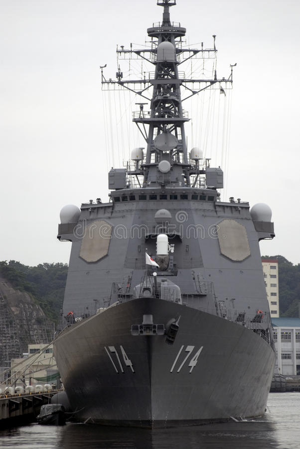 Kirishima torpedo missile destroyer. In the harbour of Yokosuka, Japan stock photos