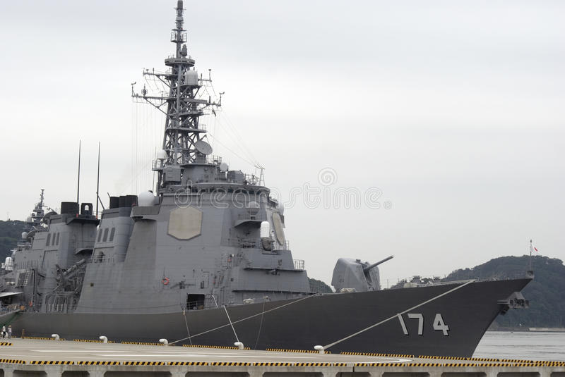 Kirishima torpedo missile destroyer. In the harbour of Yokosuka, Japan stock photo