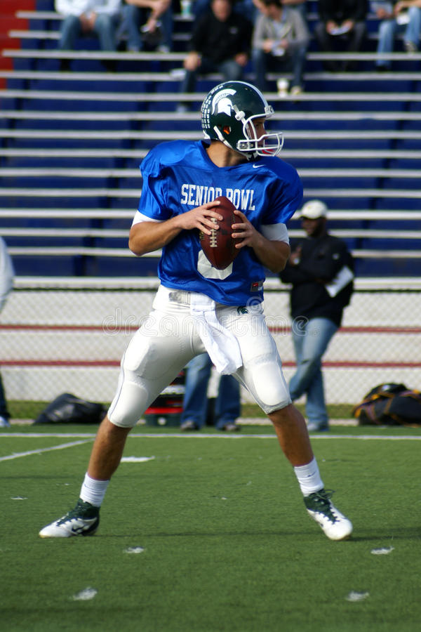 Kirk Cousins. QB from Michigan State drops back during practice at the Senior Bowl in Mobile Alabama stock images
