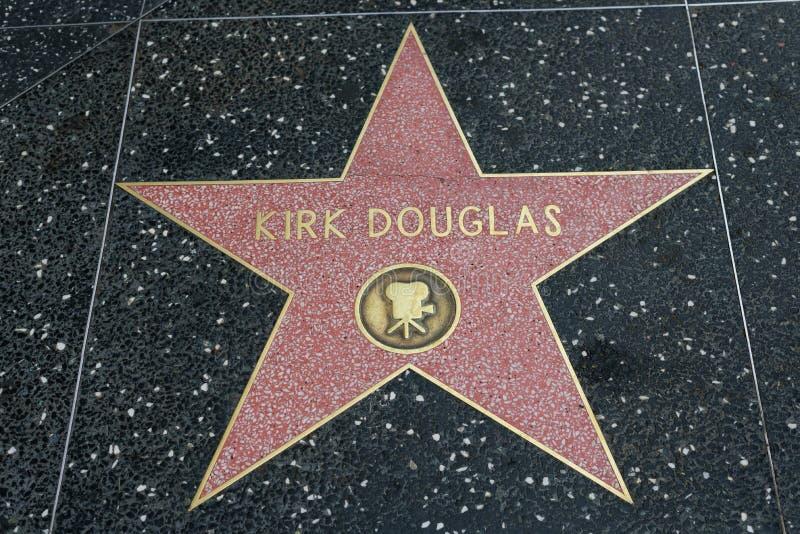 Kirk Douglas gwiazda na Hollywood spacerze sława zdjęcie royalty free