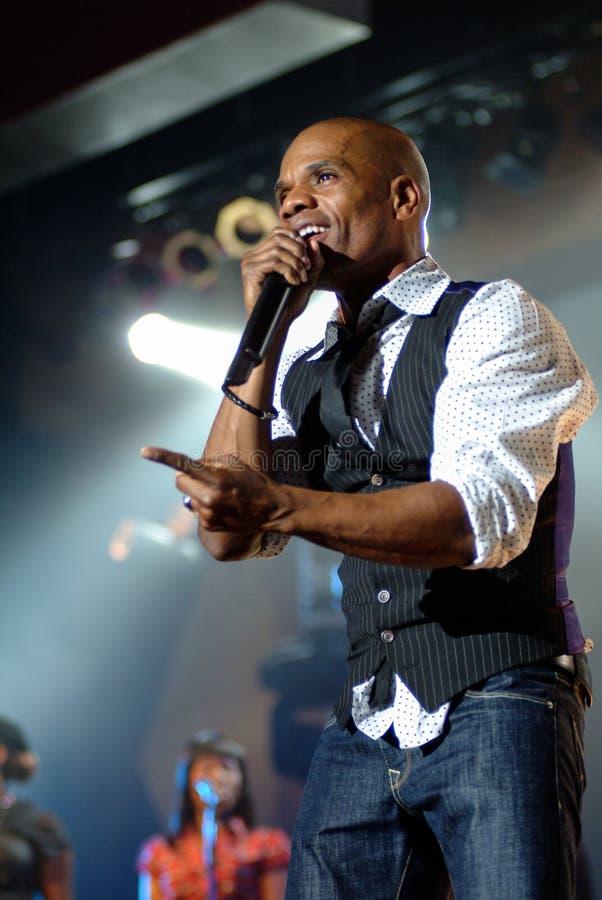 Kirk Franklin. Gospel singer Kirk Franklin performs during a concert royalty free stock image