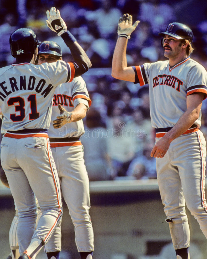 Kirk Gibson. Detroit Tigers slugger Kirk Gibson congratulates teammate Larry Herndon after he hit a HR. (image taken from color slide royalty free stock photo