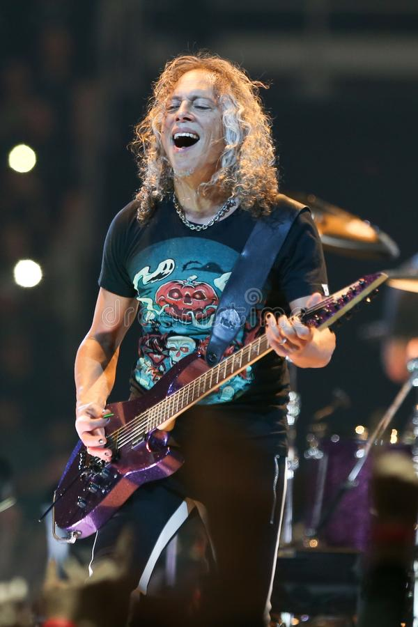 Kirk Hammett. ALBANY, NY - OCTOBER 29: Kirk Hammett of Metallica performs in concert at Times Union Center on October 29, 2018 in Albany, New York royalty free stock photos