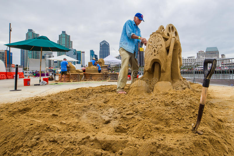 Kirk Rademaker. World Class Sand Sculpter Kirk Rademaker Sculpting Rockin'g Bobbin In San Diego, California, 2016 royalty free stock photography