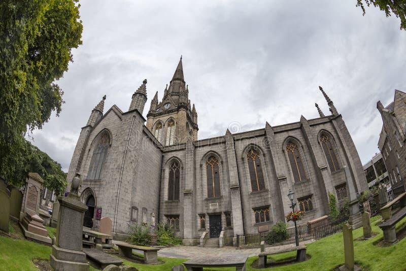 Kirk of sain Nicholas. Fisheye view of graves and the Kirk of Saint Nicholas Uniting in Aberdeen, Scotland stock image