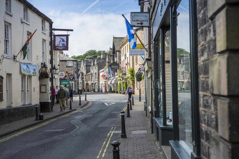 Kirkby Lonsdale, Cumbria. Market Street and Main Street approaching the Market Square in Kirkby Lonsdale, Cumbria, England. The town was granted a charter to royalty free stock photo