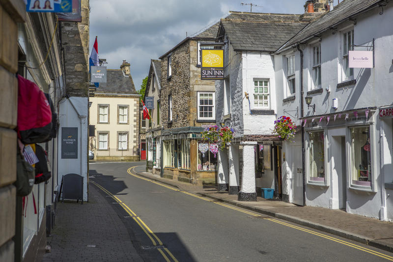 Kirkby Lonsdale, Cumbria. Market Street and Main Street in Kirkby Lonsdale, Cumbria, England. The town was granted a charter to hold markets in the 13th Century royalty free stock photos