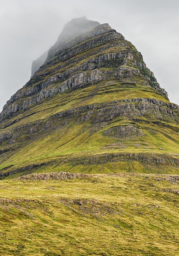 Kirkjufell Iceland. Closeup of the beautiful mountain Kirkjufell on Snaefellsnes peninsula in Iceland stock images