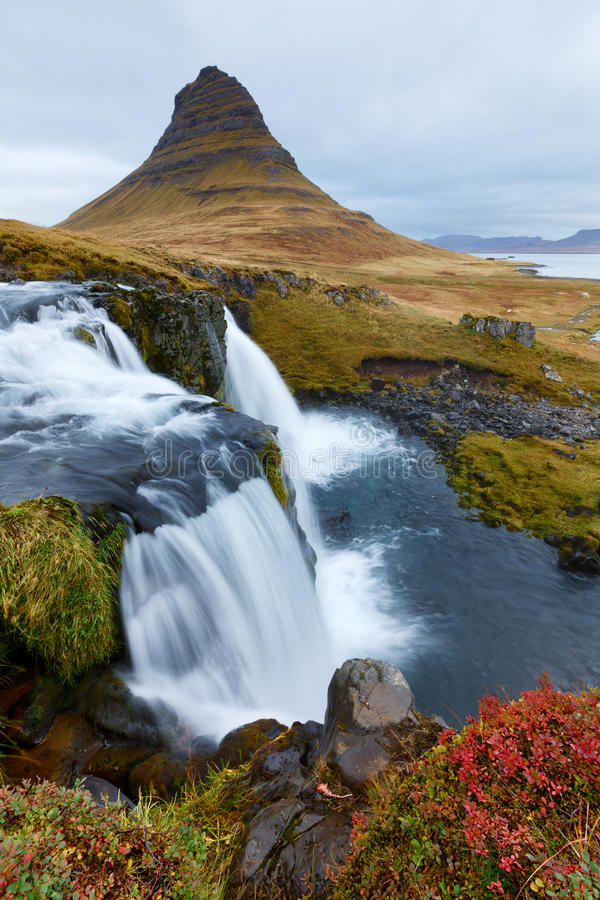 Kirkjufell in Iceland. During the day stock photos