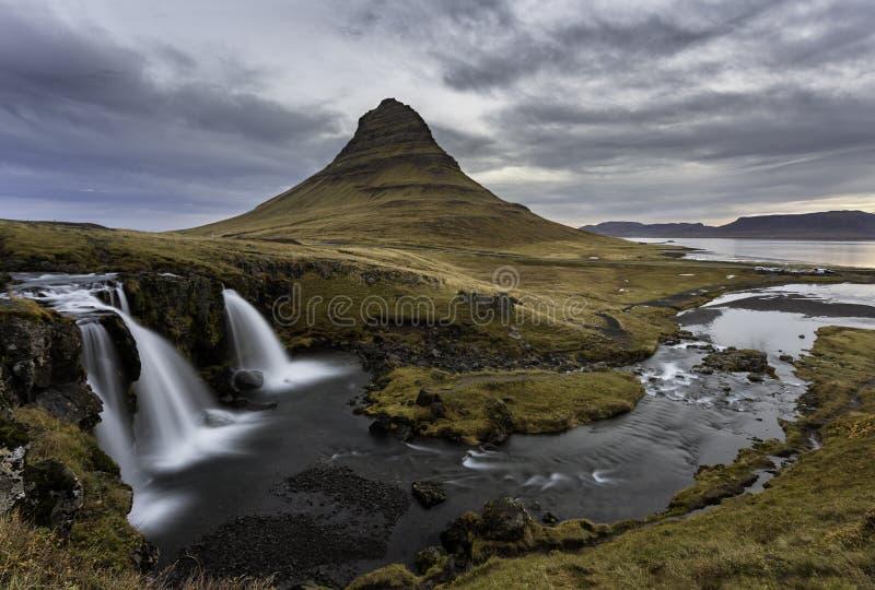 Kirkjufell in Iceland. Icelandic landscape - Mount kirkjufell and waterfall Kirkjufellsfoss in Snaefellsnes peninsula royalty free stock images