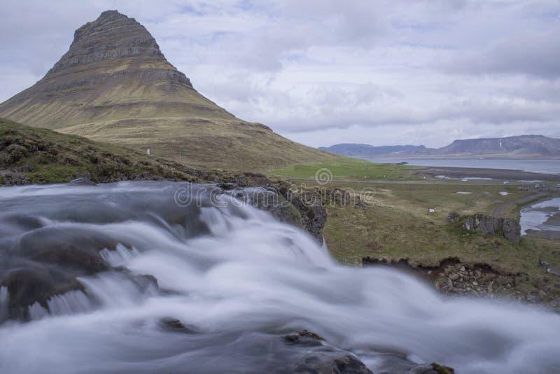 Kirkjufell mountain in Grundarfjordur. Mythical Kirkjufell mountain in Grundarfjordur, Snaefellsness peninsula in West Iceland royalty free stock image