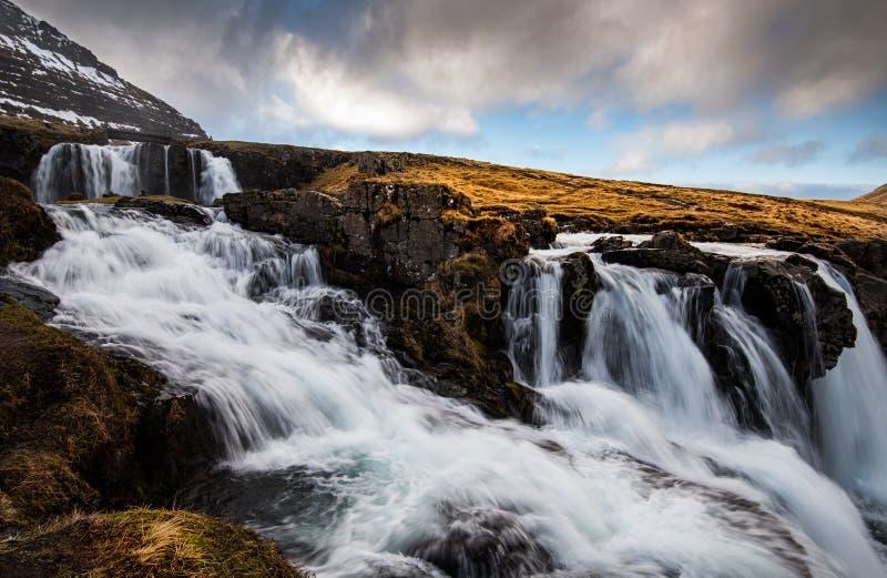 Kirkjufell mountain and the kirkjufellfoss waterfall in Iceland royalty free stock images