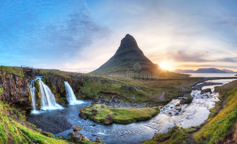 Kirkjufell mountain with waterfalls, Iceland stock image