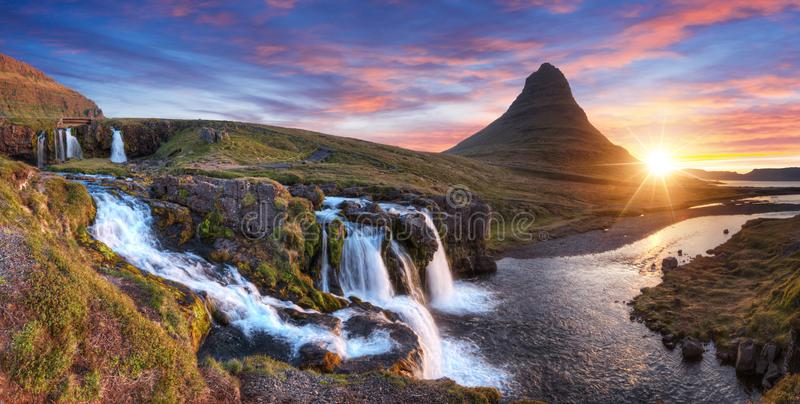 Kirkjufell mountain with waterfalls, Iceland stock photography