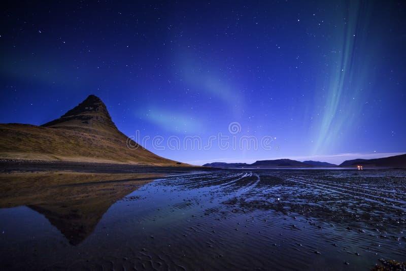 Kirkjufell northern lights royalty free stock image