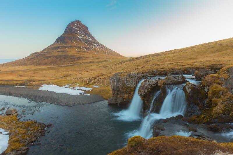 Kirkjufell Volcano Mountain with waterfall stock photography