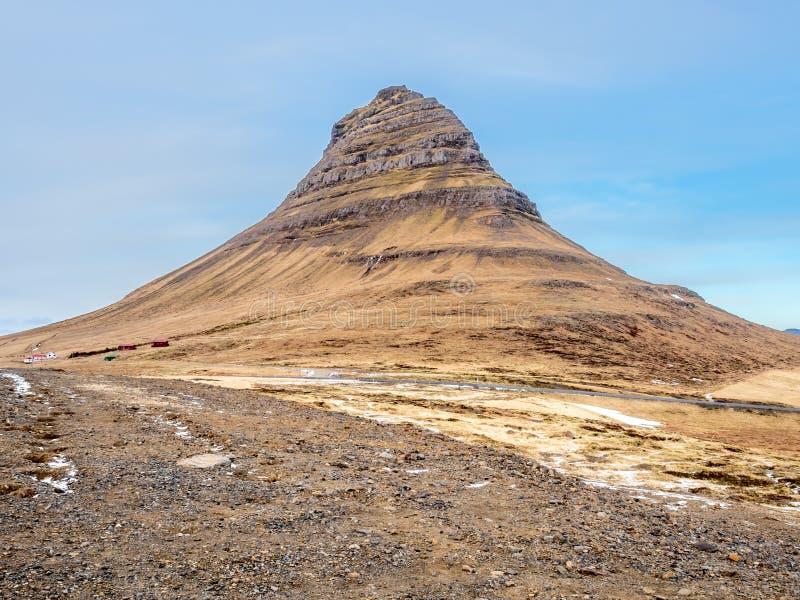 Kirkjufellberg in de winter, IJsland royalty-vrije stock fotografie
