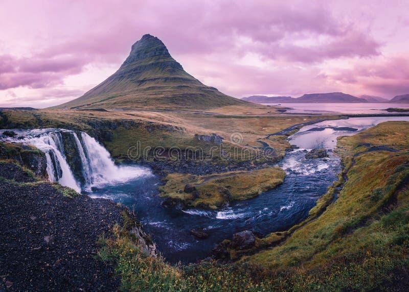 Kirkjufellsfoss waterfall panorama after sunset stock images