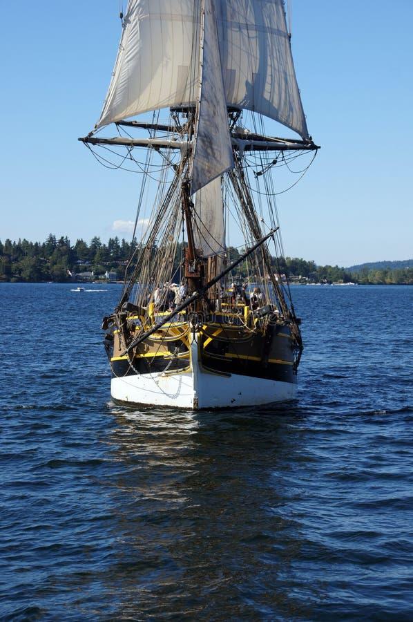 Το ξύλινο brig, κυρία Washington, πανιά στη λίμνη Ουάσιγκτον στοκ φωτογραφίες με δικαίωμα ελεύθερης χρήσης