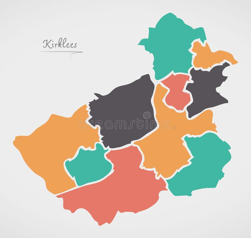 Kirklees Map with areas and modern round shapes. Illustration vector illustration