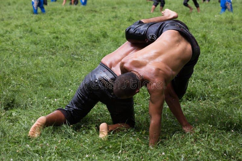 Kirkpinar搏斗的节日的摔跤手 免版税库存图片