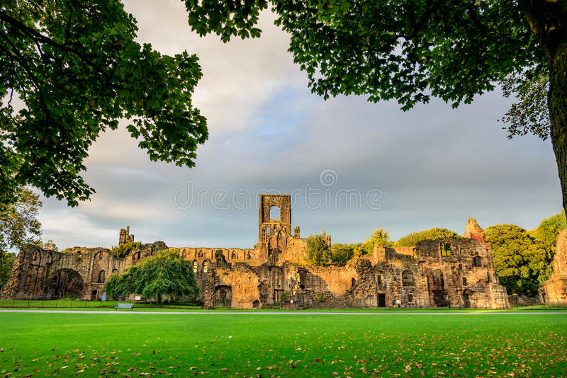 Kirkstall Abbey, Leeds-West Yorkshire,England. Kirkstall Abbey is a ruined Cistercian monastery in Kirkstall north-west of Leeds city center in West Yorkshire royalty free stock images