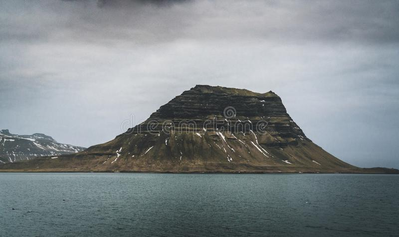 Kirkufell Mountain Church Mountain in English overlooking Grundarfjordur Bay on the Snaefellsnes Peninsula in western stock photography